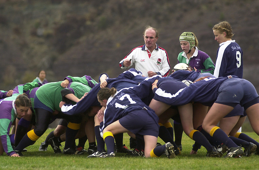"October, 2002: The ""Fallen Angels"" Fort Lewis College club women rugby squad in a scrum."