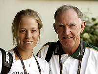 Unknown date: Sophie Ferguson with Trainer Tony Roche of Australia