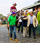 """OCTOBER 7, 2018 : Jaywalk, ridden by Joel Rosario, wins the """"Win & You're In"""" Frizette Stakes at Belmont Park on October 6, 2018 in Elmont, NY.  Sue Kawczynski/ESW/CSM"""