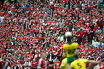 Norwich City 2 Middlesbrough 0, 25/05/2015. Wembley Stadium, Championship Play Off Final. Alexander Tettey wins a header for Norwich in front of the Middlesbrough supporters. A match worth £120m to the victors. On the day Norwich City secured an instant return to the Premier League with victory over Middlesbrough in front of 85,656. Photo by Simon Gill.