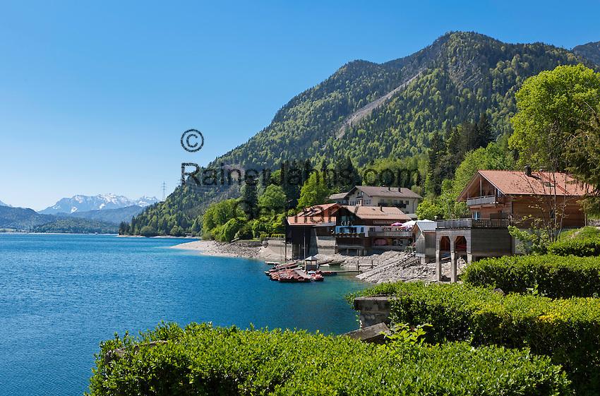 Germany, Bavaria, Upper Bavaria, Toelzer Land, Urfeld: cafe at Lake Walchen | Deutschland, Bayern, Oberbayern, Toelzer Land, Urfeld: Cafe am Ufer des Walchensee