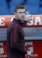 Calcio, Serie A: Roma vs Empoli. Roma, stadio Olimpico, 17 ottobre 2017.<br /> Roma&rsquo;s Edin Dzeko blinks his eye prior to the start of the Italian Serie A football match between Roma and Empoli at Rome's Olympic stadium, 17 October 2015.<br /> UPDATE IMAGES PRESS/Isabella Bonotto