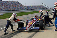 11 September, 2005, Joliet,IL,USA<br /> Danica Patrick makes her final pit stop for fuel.<br /> Copyright&copy;F.Peirce Williams 2005