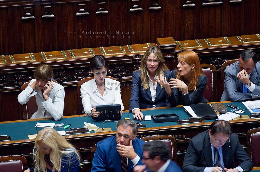 Ministre del Governo Berlusconi durante una seduta della Camera dei Deputati.