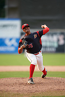 Batavia Muckdogs relief pitcher Manuel Rodriguez (35) delivers a pitch during the second game of a doubleheader against the Mahoning Valley Scrappers on September 4, 2017 at Dwyer Stadium in Batavia, New York.  Mahoning Valley defeated Batavia 6-2.  (Mike Janes/Four Seam Images)