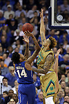 10 March 2016: Notre Dame's Zach Auguste (right) defends against Duke's Brandon Ingram (14). The University of Notre Dame Fighting Irish played the Duke University Blue Devils at the Verizon Center in Washington, DC in the Atlantic Coast Conference Men's Basketball Tournament quarterfinal and a 2015-16 NCAA Division I Men's Basketball game. Notre Dame won the game 84-79 in overtime.