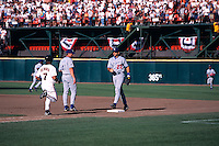SAN FRANCISCO, CA - Marvin Benard of the San Francisco Giants is out at first base (put out by Eric Karros of the Dodgers) for the last out ever at The Stick during a game against the Los Angeles Dodgers at Candlestick Park in San Francisco, California on September 30, 1999. Photo by Brad Mangin