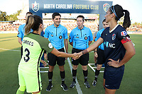 Cary, North Carolina  - Saturday August 05, 2017: Lauren Barnes and Abby Erceg prior to a regular season National Women's Soccer League (NWSL) match between the North Carolina Courage and the Seattle Reign FC at Sahlen's Stadium at WakeMed Soccer Park. The Courage won the game 1-0.