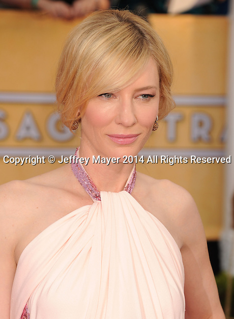 LOS ANGELES, CA- JANUARY 18: Actress Cate Blanchett arrives at the 20th Annual Screen Actors Guild Awards at The Shrine Auditorium on January 18, 2014 in Los Angeles, California.