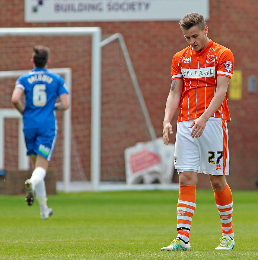 Blackpool&rsquo;s Jacob Blyth shows his dejection during the game<br /> <br /> Photographer David Shipman/CameraSport<br /> <br /> Football - The Football League Sky Bet League One - Peterborough United v Blackpool  - Sunday 8th May 2016 - ABAX Stadium - London Road   <br /> <br /> &copy; CameraSport - 43 Linden Ave. Countesthorpe. Leicester. England. LE8 5PG - Tel: +44 (0) 116 277 4147 - admin@camerasport.com - www.camerasport.com