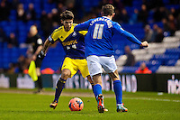 Saturday 25 January 2014<br /> Pictured: Alejandro Pozuelo tries to get the ball past Peter Lovenkrands  of of Birmingham City  <br /> Re: Birmingham City v Swansea City FA Cup fourth round match at St. Andrew's Birimingham