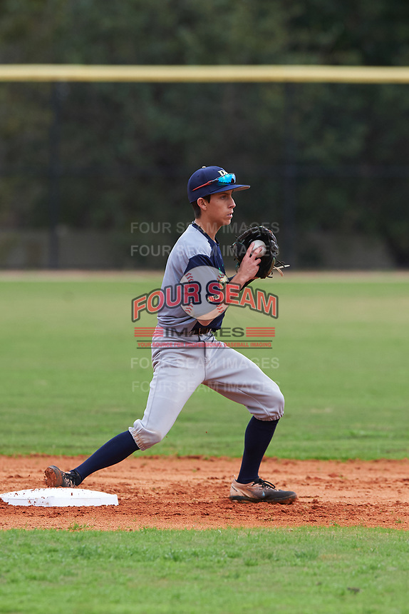 Jett Manuelito (3) of Scottsdale, Arizona during the Baseball Factory All-America Pre-Season Rookie Tournament, powered by Under Armour, on January 13, 2018 at Lake Myrtle Sports Complex in Auburndale, Florida.  (Michael Johnson/Four Seam Images)