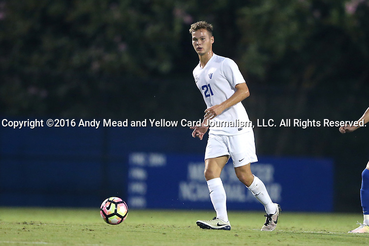27 September 2016: Georgia State's Max Hemmings (ENG) (21). The Duke University Blue Devils hosted the Georgia State University Panthers at Koskinen Stadium in Durham, North Carolina in a 2016 NCAA Division I Men's Soccer match. Georgia State won the game 2-1 in two overtimes.