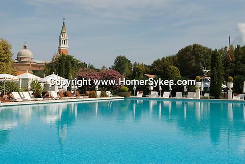 Venice Italy 2009. Cipriani Hotel swimming pool and church of San Giorgio Maggiore