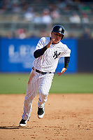 New York Yankees shortstop Diego Castillo (83) runs the bases during a Grapefruit League Spring Training game against the Toronto Blue Jays on February 25, 2019 at George M. Steinbrenner Field in Tampa, Florida.  Yankees defeated the Blue Jays 3-0.  (Mike Janes/Four Seam Images)