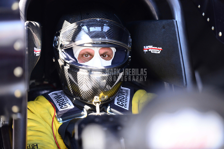 Sept. 15, 2012; Concord, NC, USA: NHRA funny car driver Todd Lesenko during qualifying for the O'Reilly Auto Parts Nationals at zMax Dragway. Mandatory Credit: Mark J. Rebilas-