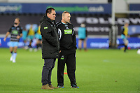 Head Coach Dave Rennie (left) of Glasgow Warriors during the pre match warm up for the Guinness Pro14 Round 8 match between the Ospreys and Glasgow Warriors at the Liberty Stadium in Swansea, Wales, UK. Friday 2nd November 2018