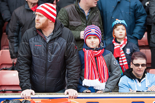 March 4th 2017,  bet365 Stadium, Stoke, England; EPL Premier League football, Stoke City versus Middlesbrough; Stoke fans wrap up warm