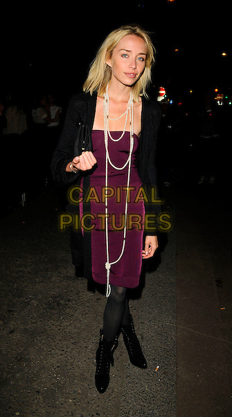 NOELLE RENO.The Swarovski Rocks magazine launch & Giles 10th Collection party, Old Sorting Office, New Oxford St., London, England..September 16th, 2008.full length black cardigan purple dress peal necklace ankle boots .CAP/CAN.©Can Nguyen/Capital Pictures.