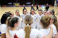The Ferns huddle during the international women's futsal match between the NZ Futsal Ferns and New Caledonia at Baypark Arena in Mount Maunganui, New Zealand on Thursday, 14 September 2017. Photo: Dave Lintott / lintottphoto.co.nz