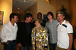 Diane Singer has been a fan of GL and has watched Guiding Light for 50 years poses with Kurt McKinney, Frank Dicopoulos, Lawrence Saint-Victor, Zack Conroy and Daniel Cosgrove - Guiding Light's actors at a private dinner on top of Mount Washington, near Pittsburgh, PA on the night before October 1, 2009 in the Pittsburgh, PA area as the actors GO PINK with Panera Bread as they visit many of the Panera Bread locations the next day. Proceeds from pink ribbon bagel sales will benefit the Young Women's Breast Cancer Awareness Foundation. (Photo by Sue Coflin/Max Photos)