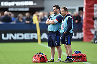 Bath Rugby physiotherapists Declan Lynch and Joey Hayes look on during the pre-match warm-up. Aviva Premiership match, between Worcester Warriors and Bath Rugby on April 15, 2017 at Sixways Stadium in Worcester, England. Photo by: Patrick Khachfe / Onside Images