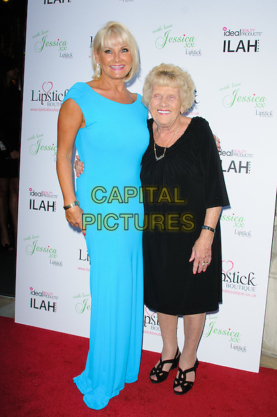 Carol Wright  & Nanny Pat ( Patricia Brooker ).Launch celebration of the new clothing line 'Lipstick Boutique' by Jessica Wright, at Soho Sanctum Hotel - Arrivals..London, England..August 21st, 2012.full length dress black blue turquoise.CAP/CJ.©Chris Joseph/Capital Pictures.