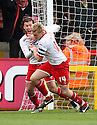 Mark Roberts of Stevenage scores a late equaliser and celebrates with Lawrie Wilson . - Stevenage v Preston North End - npower League 1 - Lamex Stadium, Stevenage - 9th April, 2012. © Kevin Coleman 2012