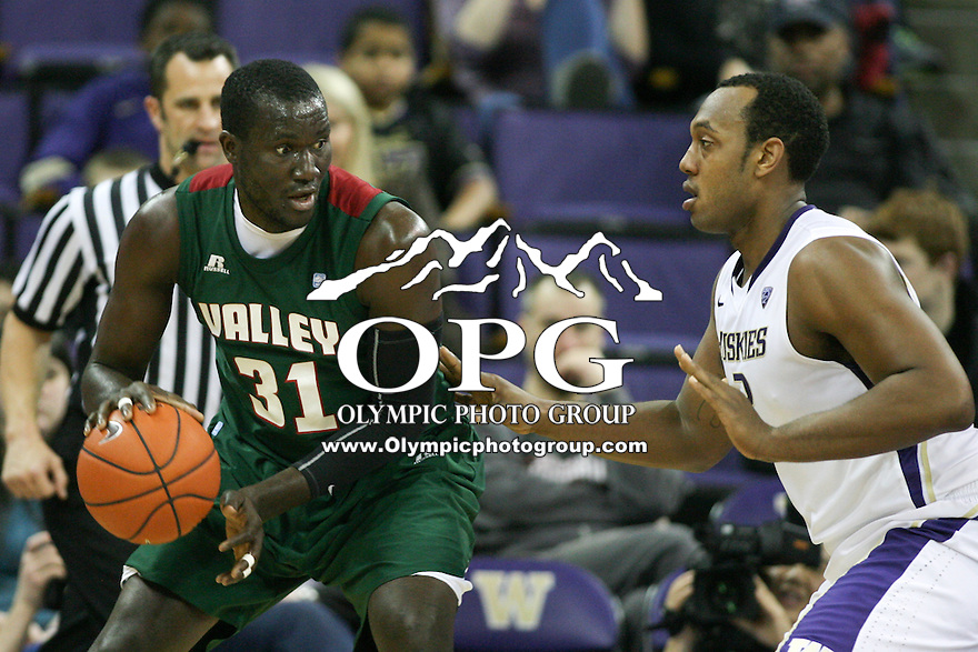 December 27, 2013:   Mississippi Valley's Julius Francis against Washington.  Washington defeated Mississippi Valley 82-70 at Alaska Airlines Arena in Seattle, Washington.