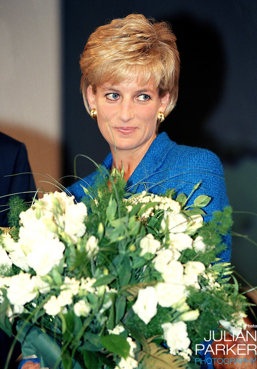 Diana, The Princess of Wales, attends the Pio Manzu Heath Conference, in Rimini, Italy..The Princess was at the conference to receive a Humanitarian award for her charity work