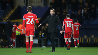 MK Dons Manager, Robbie Neilson shakes hands with Alex Gilbey at the end of the match during Oxford United vs MK Dons, Sky Bet EFL League 1 Football at the Kassam Stadium on 1st January 2018