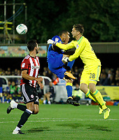AFC Wimbledon's Kwesi Appiah and Brentford's Luke Daniels contest a ball during the Carabao Cup match between AFC Wimbledon and Brentford at the Cherry Red Records Stadium, Kingston, England on 8 August 2017. Photo by Carlton Myrie.