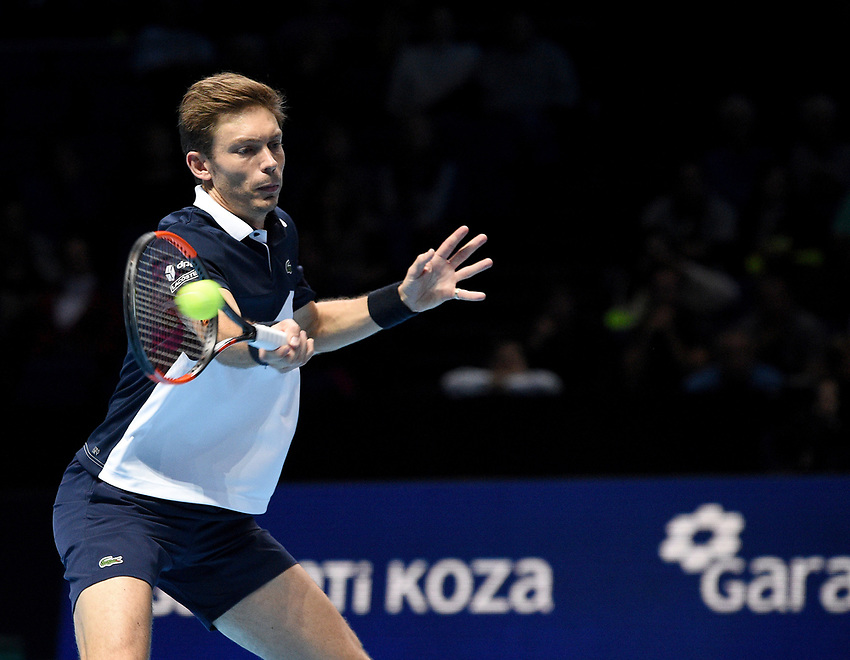 Nicolas Mahut in action against Oliver Marach and Mate Pavic<br /> <br /> Photographer Hannah Fountain/CameraSport<br /> <br /> International Tennis - Nitto ATP World Tour Finals Day 2 - O2 Arena - London - Monday 12th November 2018<br /> <br /> World Copyright © 2018 CameraSport. All rights reserved. 43 Linden Ave. Countesthorpe. Leicester. England. LE8 5PG - Tel: +44 (0) 116 277 4147 - admin@camerasport.com - www.camerasport.com