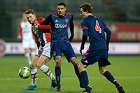 EMMEN - Voetbal, FC Emmen - Jong Ajax, Jens Vesting, Jupiler League, seizoen 2017-2018, 15-12-2017,  FC Emmen speler Cas Peters met Jong Ajax speler Danilho Doekhi