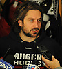 Mats Zuccarello of the New York Rangers speaks with the media in the locker room of Madison Square Garden Training Center in Greenburgh, NY on Tuesday, April 10, 2018.