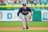 Tampa Bay Rays third baseman Evan Longoria (3) on defense against the Detroit Tigers at Comerica Park on June 4, 2013 in Detroit, Michigan.  The Tigers defeated the Rays 10-1.  Brian Westerholt/Four Seam Images