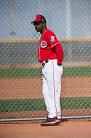 Cincinnati Reds coach Delino DeShields (90) during a Minor League Spring Training game against the Los Angeles Angels at the Cincinnati Reds Training Complex on March 15, 2018 in Goodyear, Arizona. (Zachary Lucy/Four Seam Images)