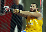 VERMILLION, SD - FEBRUARY 8:  Kyle Anderson from South Dakota State University throws the hammer at the University of South Dakota Track Alumni Meet Saturday at the DakotaDome in Vermillion.  (Photo by Dave Eggen/Inertia)