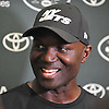 Todd Bowles, New York Jets head coach, jokes with the media after a day of team training camp at Atlantic Health Jets Training Center in Florham Park, NJ on Saturday, July 30, 2016.
