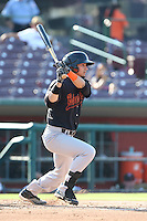 Juan Perez #1 of the Bakersfield Blaze bats against the Inland Empire 66ers at San Manuel Stadium on August 21, 2014 in San Bernardino, California. Inland Empire defeated Bakersfield, 3-1. (Larry Goren/Four Seam Images)