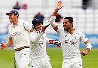 PICTURE BY KEIRAN GALVIN/SWPIX.COM - Cricket - County Championship, Div 2 - Essex v Yorkshire, Day 4 - Ford County Ground, Chelmsford, England - 14/09/12 - Yorkshire's Azeem Rafiq celebrates the wicket of Mark Pettini of Essex.