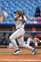 Dayton Dragons second baseman Avain Rachal (7) at bat during a game against the Lake County Captains on June 8, 2014 at Classic Park in Eastlake, Ohio.  Lake County defeated Dayton 4-2.  (Mike Janes/Four Seam Images)