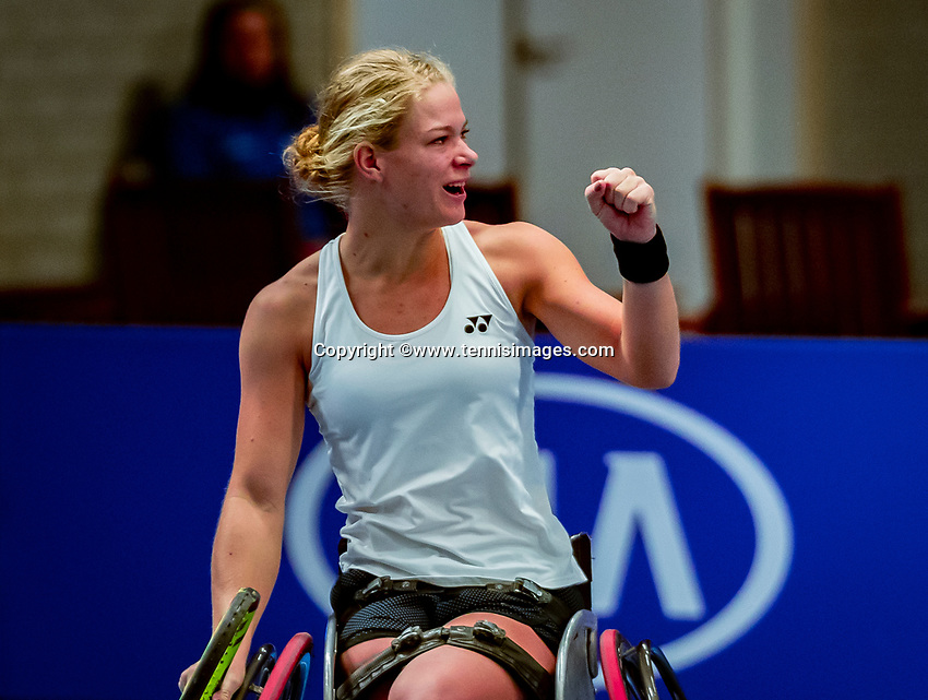 Alphen aan den Rijn, Netherlands, December 15, 2018, Tennispark Nieuwe Sloot, Ned. Loterij NK Tennis, Womans wheelchair final : Winner Diede de Groot (NED) celebrates<br />