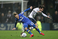 Preston North End's Ben Pearson in action with Leeds United's Samu S&aacute;iz<br /> <br /> Photographer Mick Walker/CameraSport<br /> <br /> The EFL Sky Bet Championship - Preston North End v Leeds United - Tuesday 10th April 2018 - Deepdale Stadium - Preston<br /> <br /> World Copyright &copy; 2018 CameraSport. All rights reserved. 43 Linden Ave. Countesthorpe. Leicester. England. LE8 5PG - Tel: +44 (0) 116 277 4147 - admin@camerasport.com - www.camerasport.com