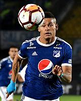 BOGOTA - COLOMBIA – 28 - 02 - 2018: Ayron del Valle, jugador del Millonarios (COL), en acción durante partido entre Millonarios (COL) y Corinthians (BRA), de la fase de grupos, grupo 7, fecha 1 de la Copa Conmebol Libertadores 2018, en el estadio Nemesio Camacho El Campin, de la ciudad de Bogota.  / Ayron del Valle, player of Millonarios (COL) in action during a match between Millonarios (COL) and Corinthians (BRA), of the group stage, group 7, 1st date for the Conmebol Copa Libertadores 2018 in the Nemesio Camacho El Campin stadium in Bogota city. VizzorImage / Luis Ramirez / Staff.