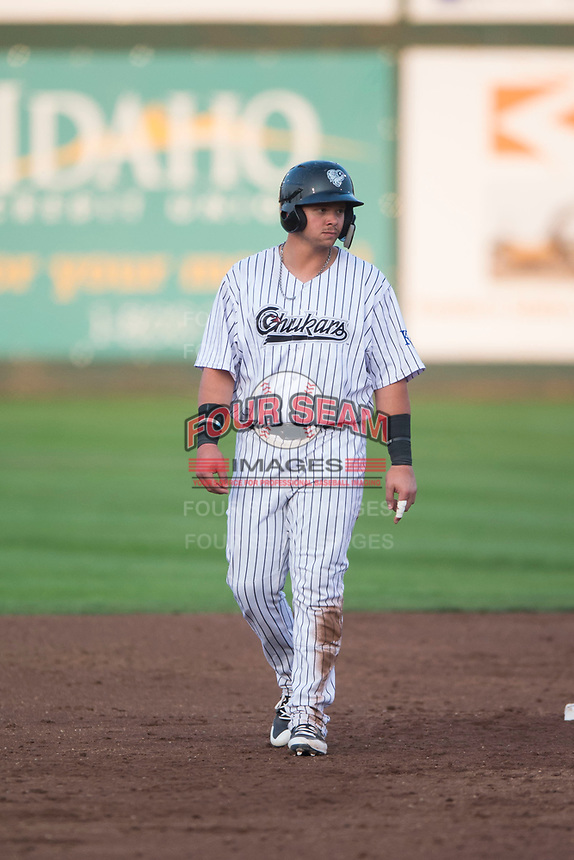 Idaho Falls Chukars designated hitter Chase Vallot (44) takes a lead off second base during a Pioneer League game against the Great Falls Voyagers at Melaleuca Field on August 18, 2018 in Idaho Falls, Idaho. The Idaho Falls Chukars defeated the Great Falls Voyagers by a score of 6-5. (Zachary Lucy/Four Seam Images)