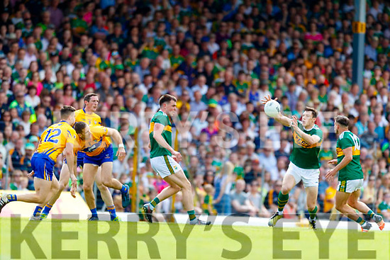 David Moran Kerins O'Rahillys Kerry in action against  Clare during the Munster GAA Football Senior Championship semi-final match between Kerry and Clare at Fitzgerald Stadium in Killarney on Sunday.