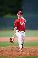 GCL Phillies starting pitcher Will Stewart (58) during a game against the GCL Braves on August 3, 2016 at the Carpenter Complex in Clearwater, Florida.  GCL Phillies defeated GCL Braves 4-3 in a rain shortened six inning game.  (Mike Janes/Four Seam Images)