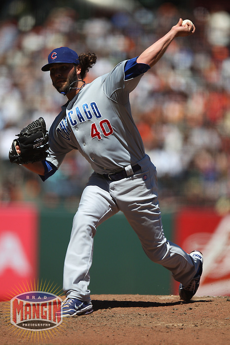 SAN FRANCISCO, CA - JUNE 3:  James Russell #40 of the Chicago Cubs pitches against the San Francisco Giants during the game at AT&T Park on Sunday, June 3, 2012 in San Francisco, California. Photo by Brad Mangin
