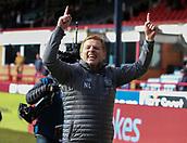 17th March 2019, Dens Park, Dundee, Scotland; Ladbrokes Premiership football, Dundee versus Celtic; Celtic Caretaker Manager Neil Lennon celebrates the injury time win
